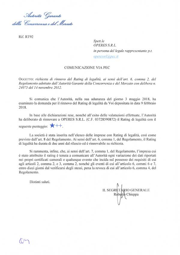 Rating legalità